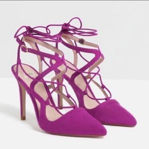 Zara Suede Pink Lace Up Heels size 8.5